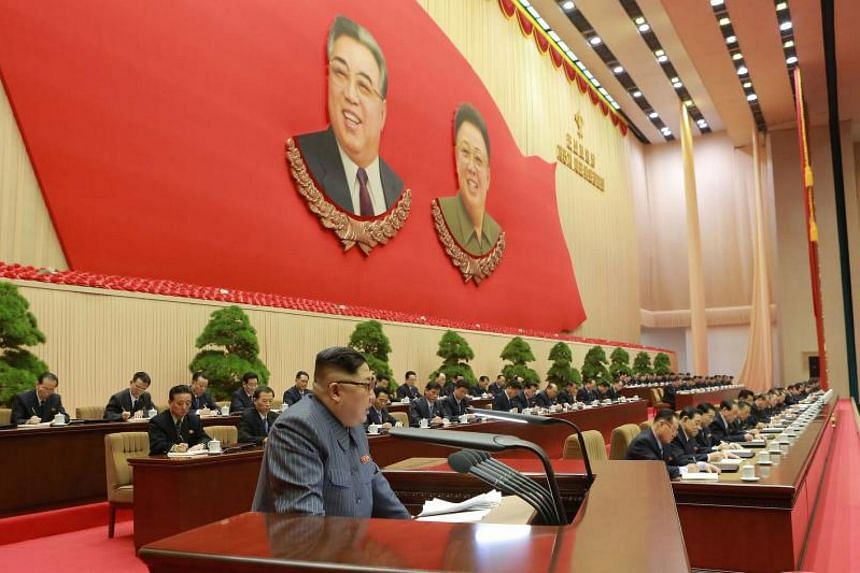 North Korean leader Kim Jong Un speaking at the 5th Conference of the Workers' Party of Korea Cell Chairpersons on Dec 23, 2017.