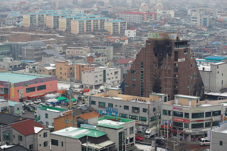 A view of the eight-storey building that was damaged in a blaze which killed 29 people in the southern city of Jecheon on Dec 22.