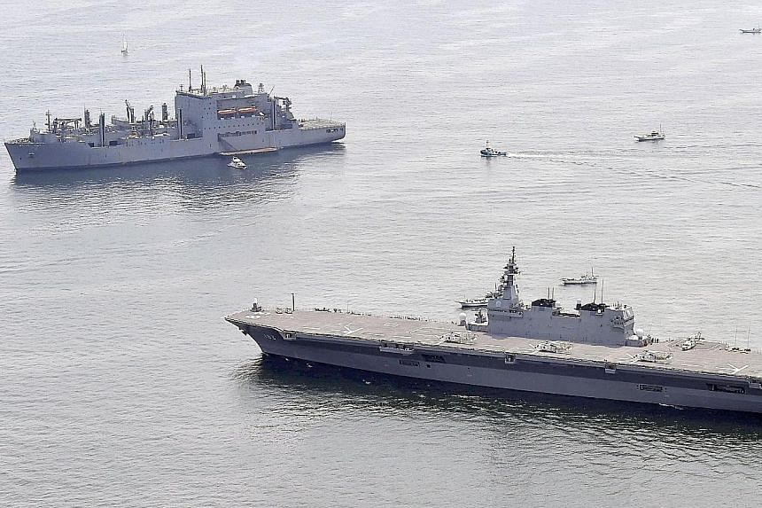 The Izumo, Japan's largest warship equipped with a flat flight deck, was designed with an eye on hosting F-35B fighters. Its elevator connecting the deck with the hangar can carry the aircraft, sources say.