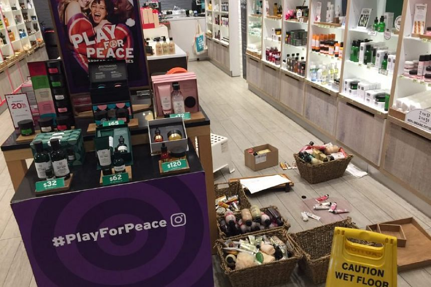 The aftermath in The Body Shop at Bedok Mall on Dec 27, 2017.