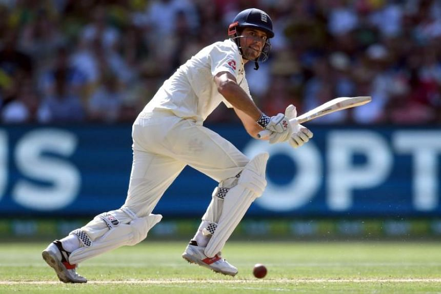 England's batsman Alastair Cook steers a ball away on the way to scoring his century against Australia on the second day of the fourth Ashes cricket Test match at the MCG in Melbourne on Dec 27, 2017.