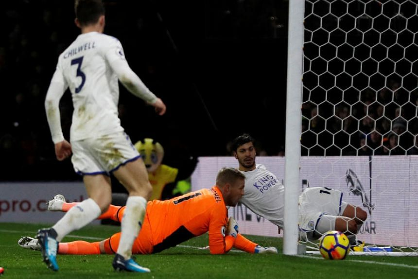 Leicester City's Kasper Schmeichel concedes Watford's second goal in Britain on Dec 26, 2017.