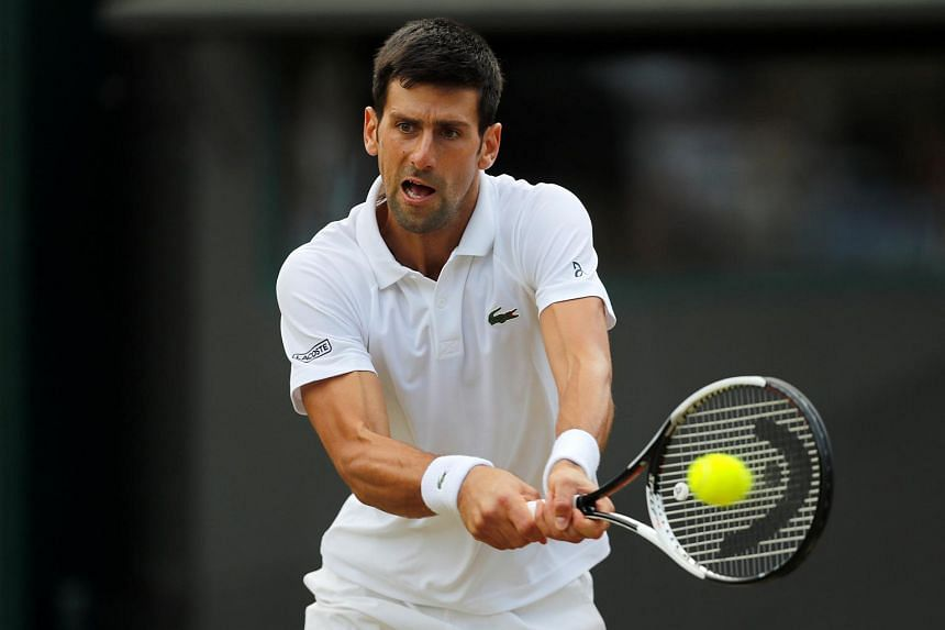 Serbia's Novak Djokovic in action during his quarter final match against Czech Republic's Tomas Berdych.