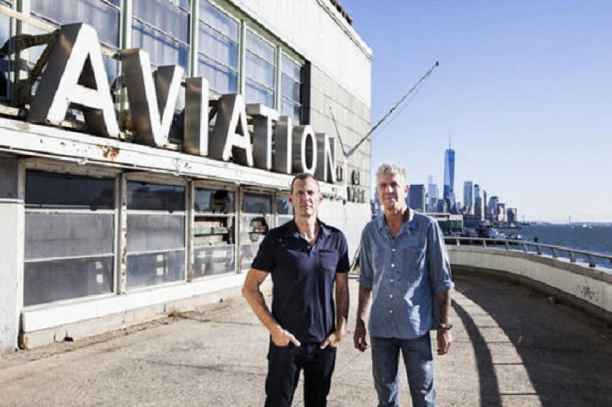 Anthony Bourdain (right), with Bourdain Market's former chief executive Stephen Werther (left), on Pier 57, where they had planned to open the food hall.