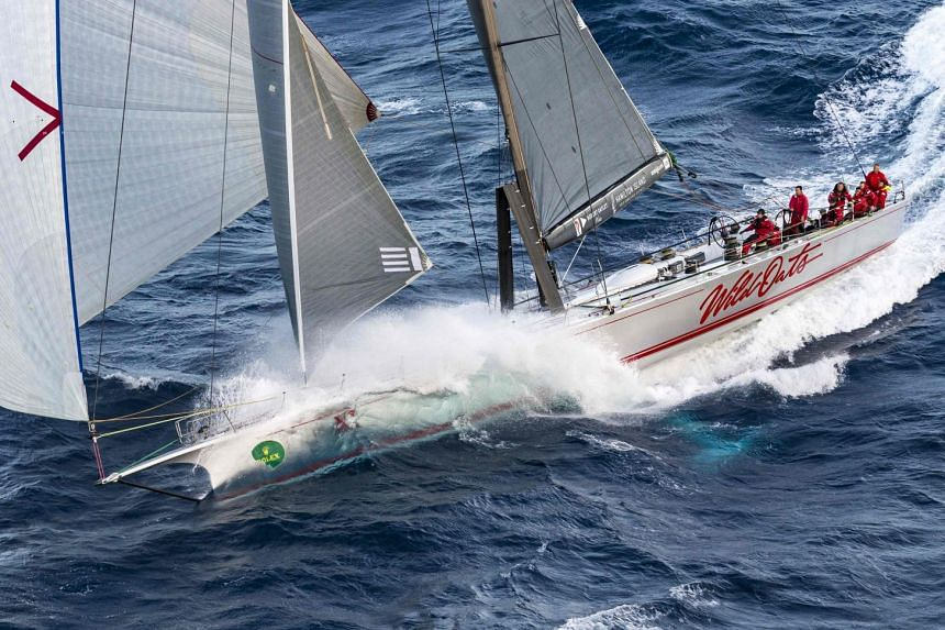 This handout photo from Rolex on Dec 27, 2017 shows Australian Supermaxi yacht Wild Oats XI during the Sydney to Hobart yacht race.