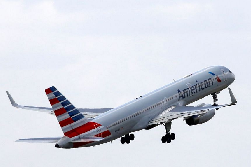 An American Airlines plane taking off in Roissy, France.