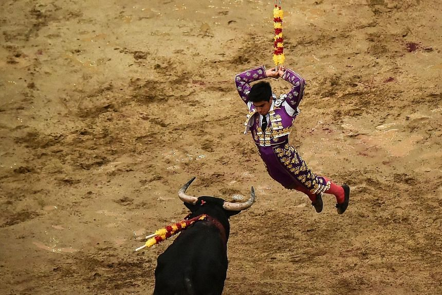 Venezuelan bullfighter Jesus Enrique Colombo confronting a bull at the Canaveralejo bullring in Cali, Colombia, on Tuesday, during the world-famous 60th Fair of Cali. Considered the biggest festival of its kind in the Americas, the bloody display - w