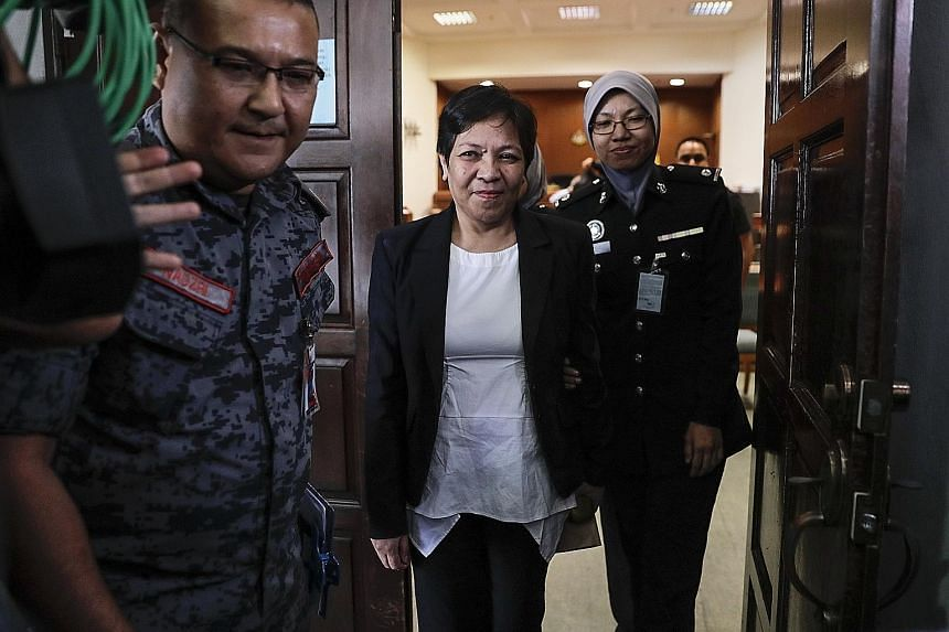 Ms Maria Elvira Pinto Exposto leaving the high court in Shah Alam yesterday. The Australian grandmother was arrested at Kuala Lumpur International Airport in December 2014, while in transit from Shanghai to Melbourne, for carrying over 1kg of crystal