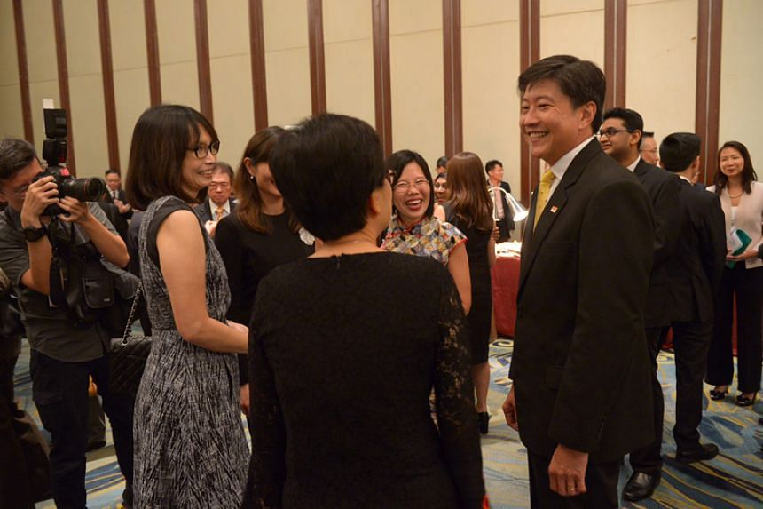 Minister for Education (Schools) Ng Chee Meng mingling with newly appointed principals at the 20th Appointment and Appreciation Ceremony for Principals at Shangri-La Hotel.