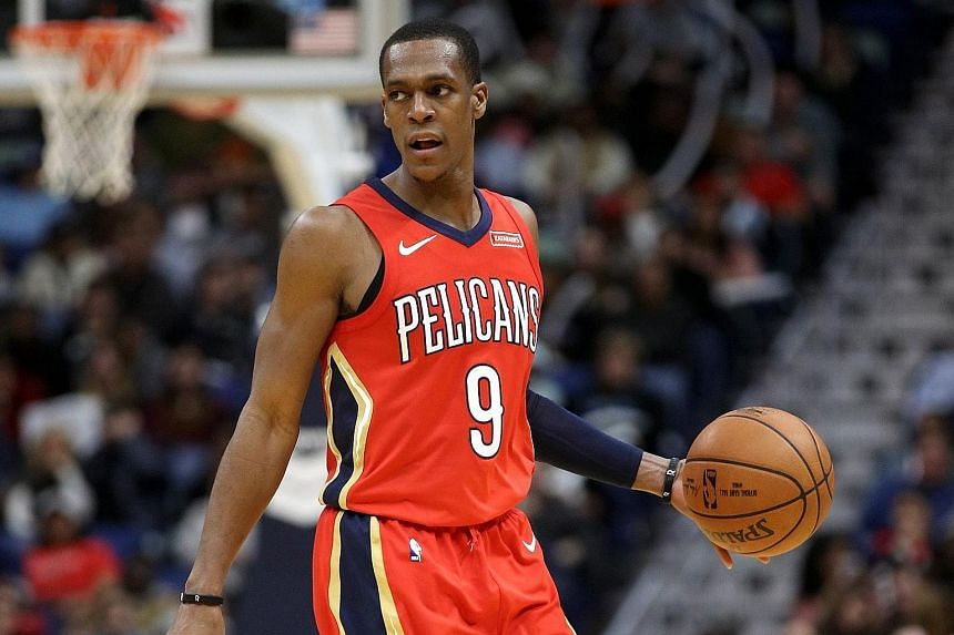 Rajon Rondo of the New Orleans Pelicans in action against the Brooklyn Nets at the Smoothie King Center on Dec 27, 2017.