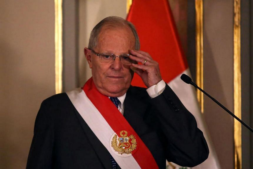 Peru's centre-right President Pedro Pablo Kuczynski (above) at the swearing-in ceremony of new Interior Minister Vicente Romero at the government palace in Lima, Peru, on Dec 27, 2017.