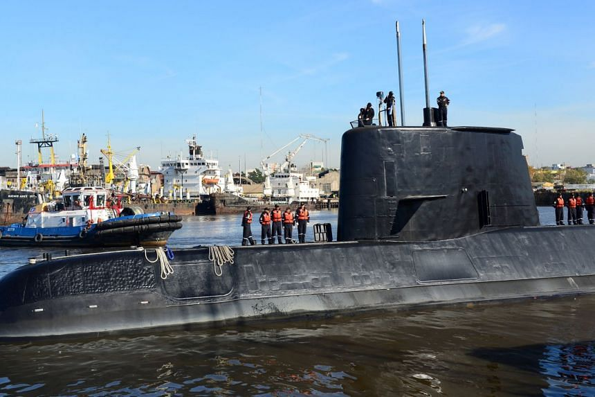 File photo of the Argentine military submarine ARA San Juan and crew as they leave the port of Buenos Aires, Argentina, on June 2, 2014.