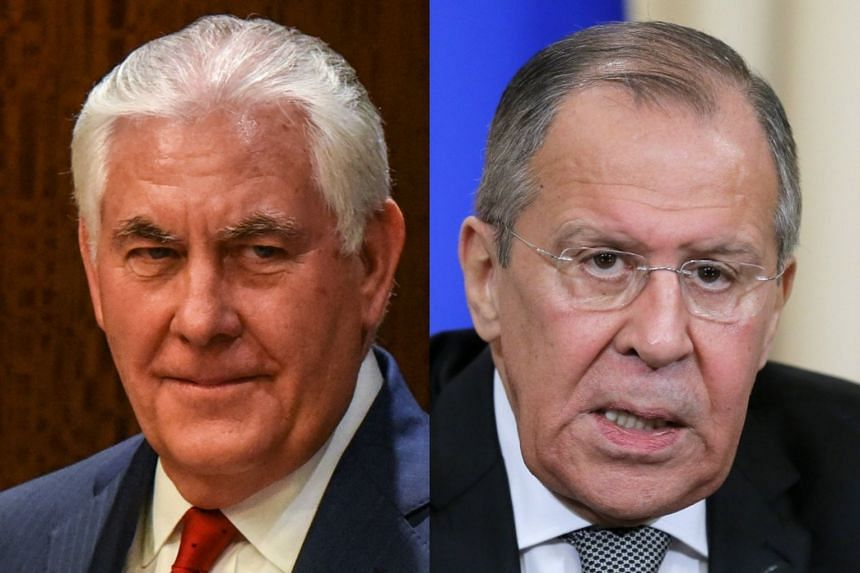 Tillerson (left) and Lavrov spoke by telephone.