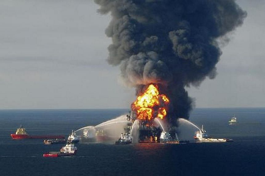 Fire response crews battling the blaze at the Deepwater Horizon oil rig in 2010.