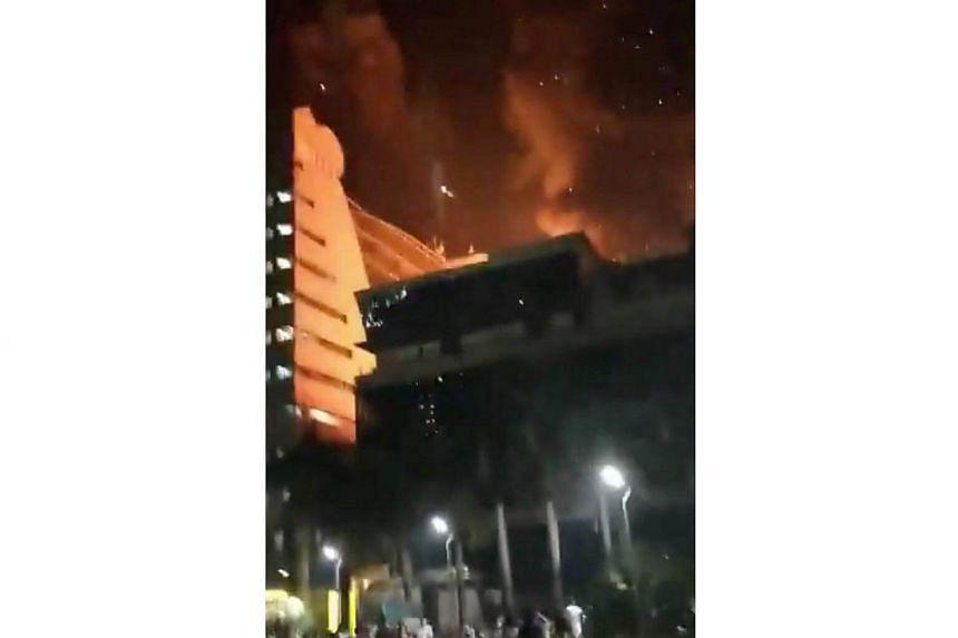 A fire rages at a multi-storey building in Mumbai, on Dec 29, 2017.