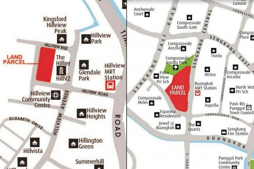 Location plans for land parcels at Hillview Rise (left) and Sengkang Central.