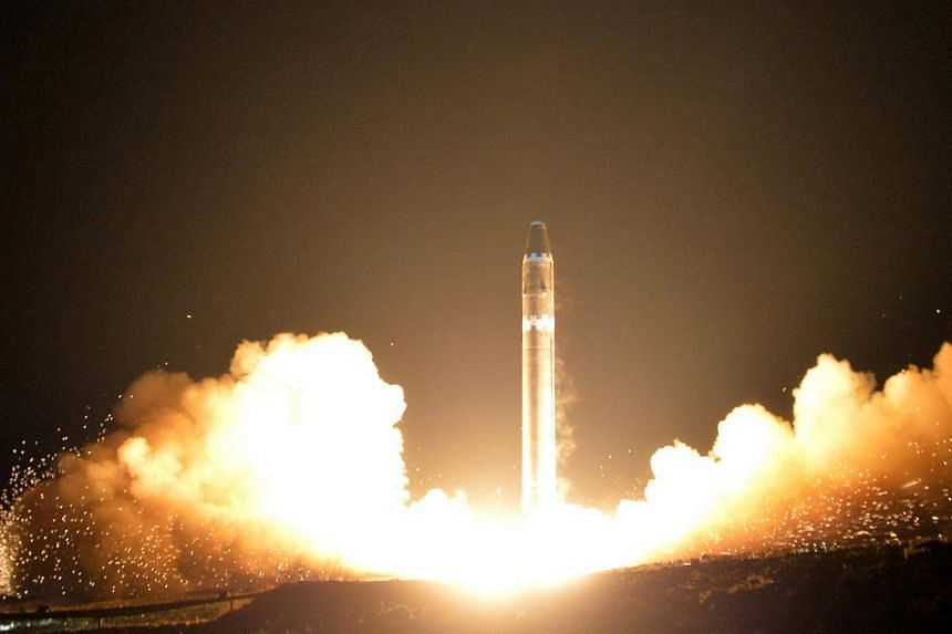 A view of the intercontinental ballistic rocket Hwasong-15's test that was successfully launched in Pyongyang, North Korea, on Nov 30, 2017.