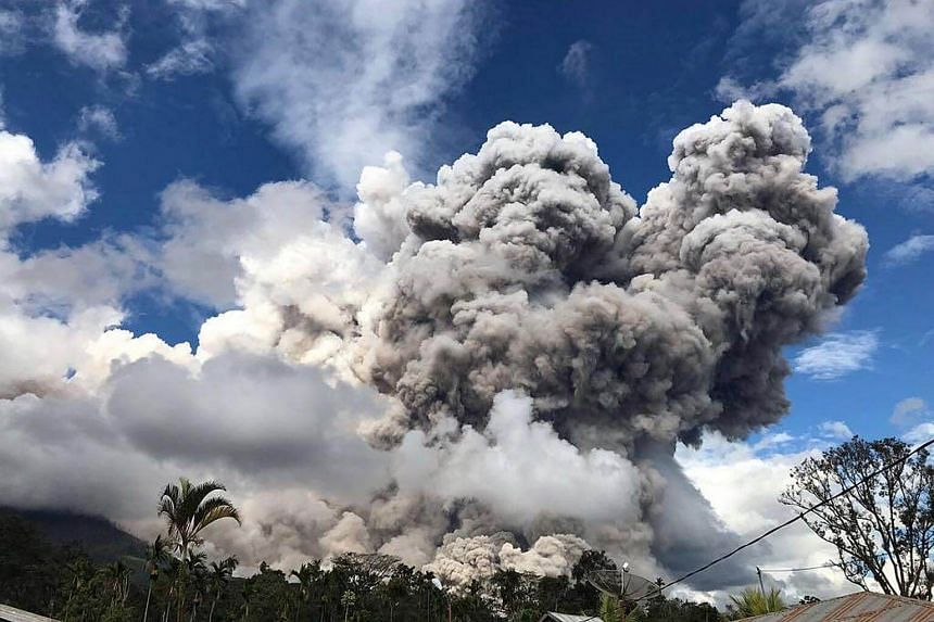 Indonesia's Mount Sinabung volcano erupted again on Dec 27, its biggest this year.