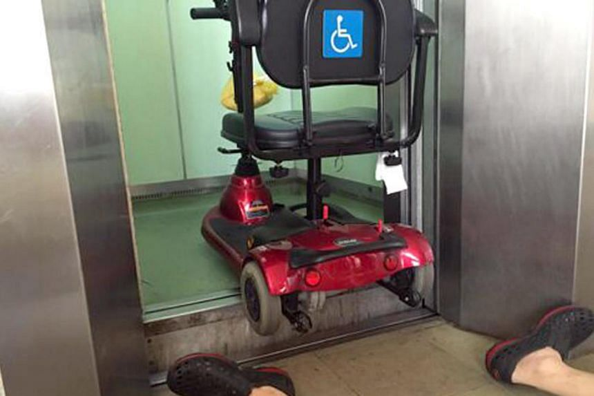 "Mr Lim Hang Chiang did not realise the lift had ""mislevelled"" and was about 13cm higher than the floor landing when he reversed his scooter out of it."