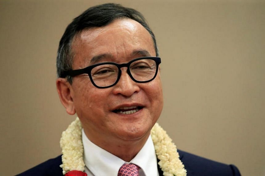 Cambodian opposition leader Sam Rainsy (above) was on Friday found guilty of defaming Prime Minister Hun Sen and was ordered to pay US$1 million in damages.