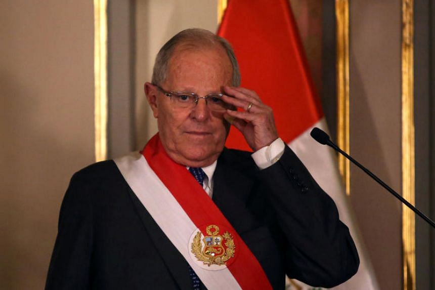 Peru's President Pedro Pablo Kuczynski attends the swearing-in ceremony of new Interior Minister Vicente Romero at the government palace in Lima, Peru on Dec 27, 2017.