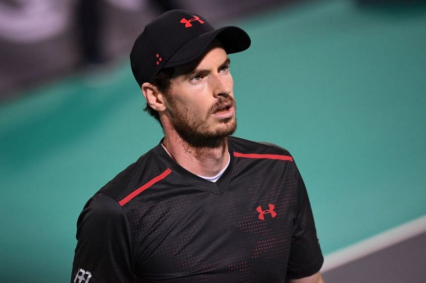 Murray reacts during his match against Roberto Bautista Agut of Spain.