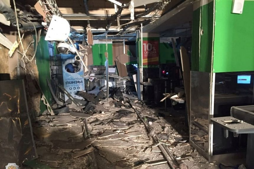 An interior view of a supermarket is seen after an explosion in St Petersburg, Russia.