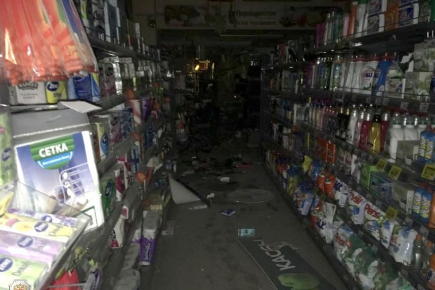 The interior of the St Petersburg supermarket after the blast.