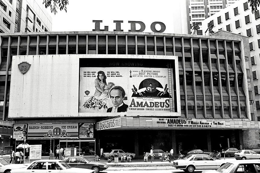 Glutton's Square (above) near Specialists' Shopping Centre in the 1970s and Singapore band Tania (left) who played at Pebbles Bar at the Singapura Forum Hotel and Tanglin Shopping Centre. Lido cinema in Orchard Road in 1985.