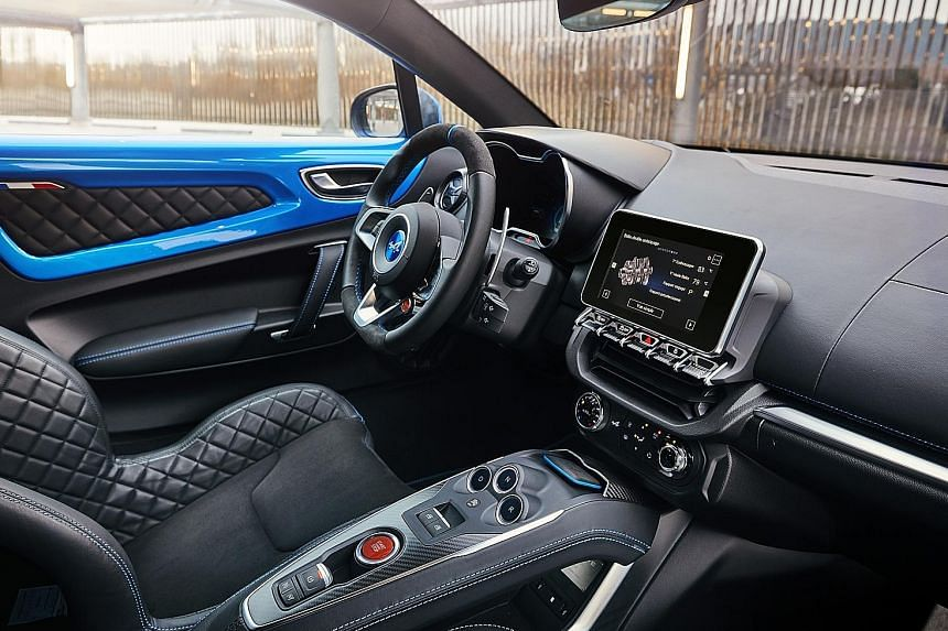 The A110 is composed in tight turns and fast, swoopy bends. Inside, the body-hugging Sabelt racing bucket seats are comfortable.