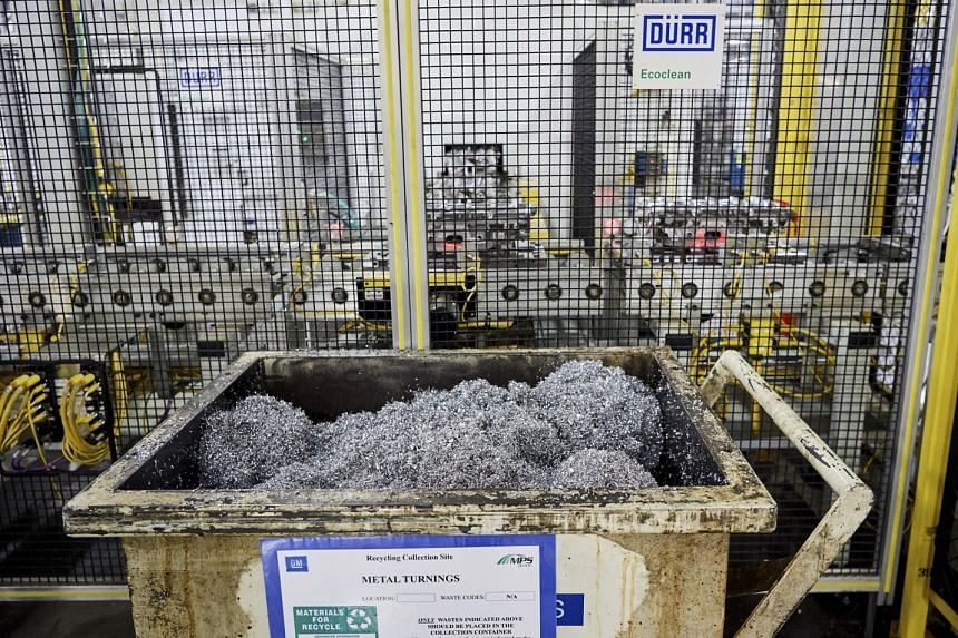 Steel shavings being collected at a General Motors factory in Flint, Michigan, where nothing has been sent to a dump in more than 12 years.