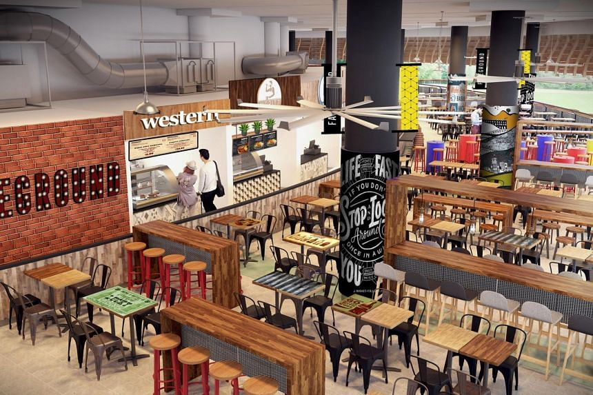 An artist's impression of the second floor of the upcoming new hawker centre in Pasir Ris Central.