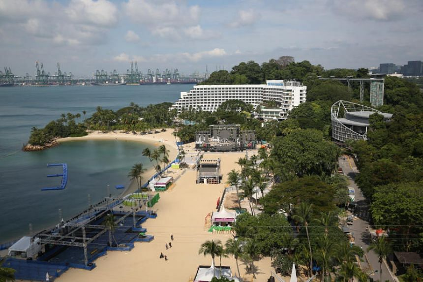 A view of the venue for the Siloso Beach Party on New Year's Eve.