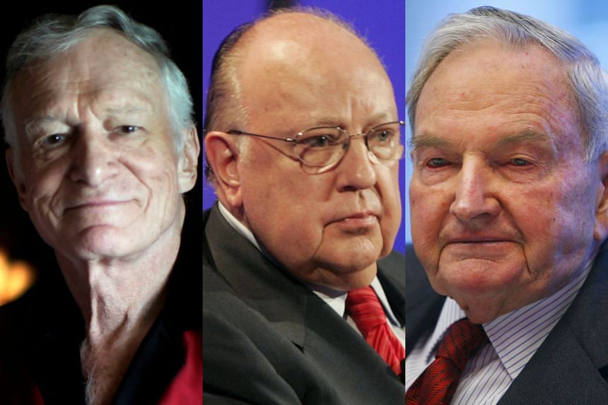 (From left) Playboy magazine founder Hugh Hefner, Fox News Channel Chief Executive Officer Roger Ailes and billionaire philanthropist David Rockefeller were among newsmakers in business, finance and public affairs who died in 2017.