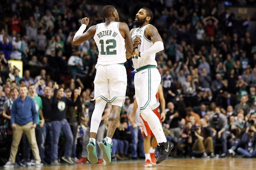 Boston Celtics guards Terry Rozier and Kyrie Irving chest bumping in the second half as the Eastern Conference leaders whittled down the Houston Rockets' lead on Thursday. The 26-point rally was the biggest comeback of the current NBA season.