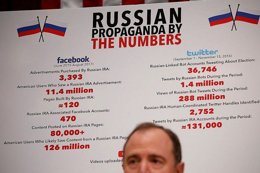 A session of the House Intelligence Committee last month on Russia's use of social media to influence US elections. During the 2016 US presidential election, fake news stories were shared on social media more widely than professionally produced ones,