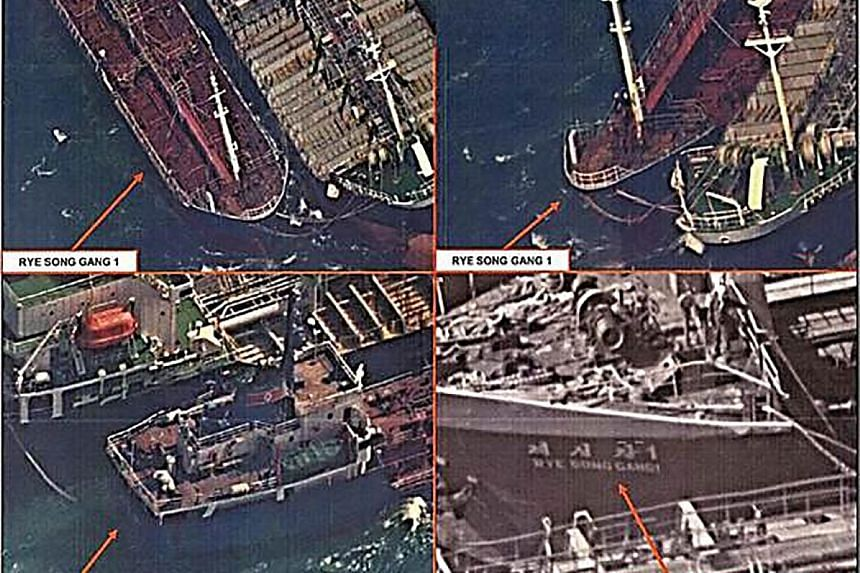 Satellite images showing what the US Treasury Department says is the transfer of refined petroleum between an unidentified ship and the North Korean ship Rye Song Gang 1 in October.