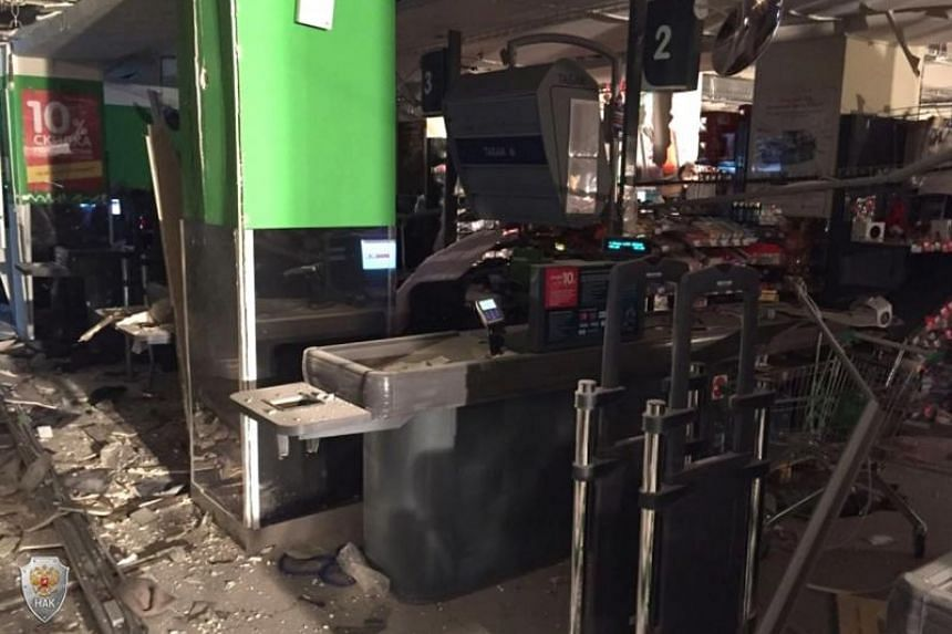 Damages on the site of the explosion inside a Perekryostok supermarket in St.Petersburg, Russia, on Dec 27, 2017.