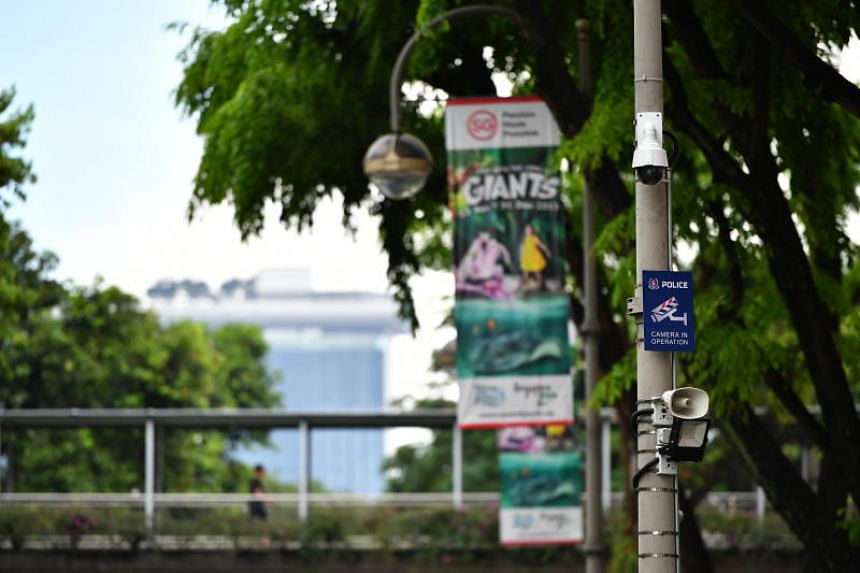 A police camera with light and sound capabilities is installed at Clarke Quay on Dec 28, 2017.