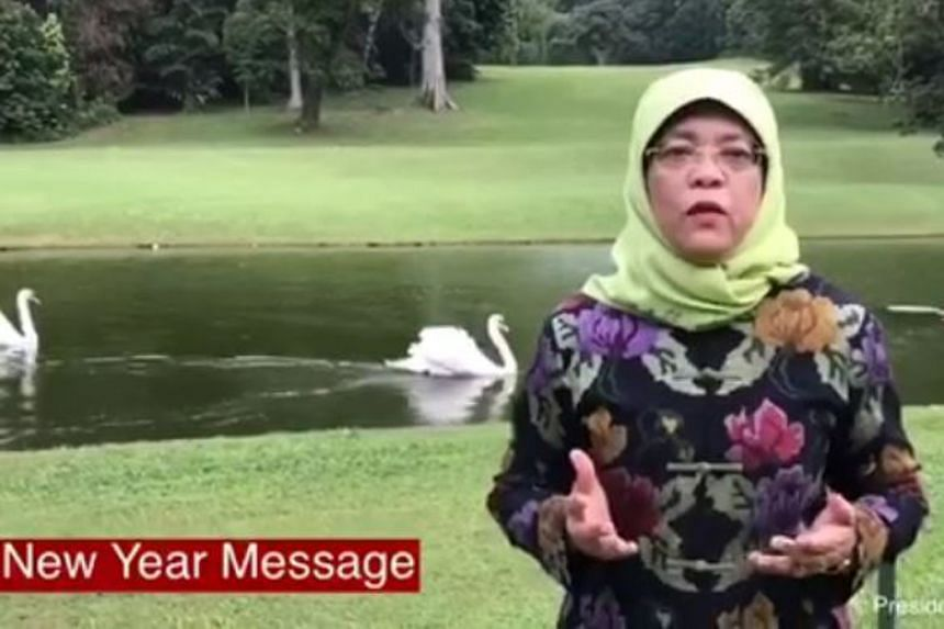 President Halimah Yacob delivered a new year message in a 50-second video posted on Facebook on Dec 31.
