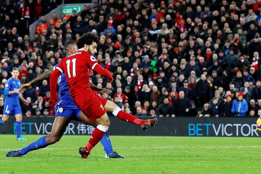 Mohamed Salah scoring the second of his pair of second-half goals as Liverpool came from behind to beat Leicester 2-1 in the Premier League. The visiting Foxes opened the scoring through Jamie Vardy in the third minute.