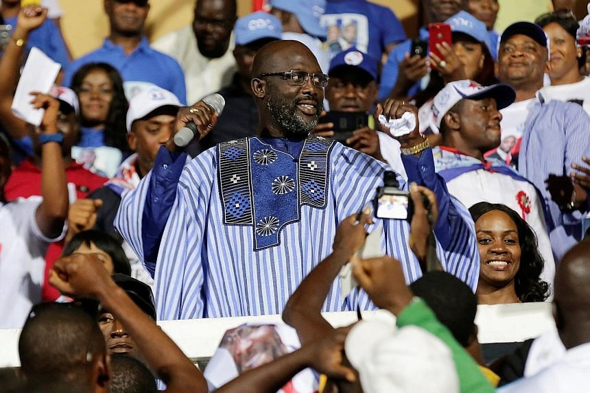 Mr George Weah on the campaign trail last month.