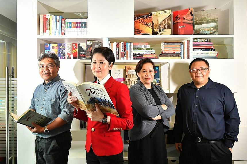 The team in the Singapore Bicentennial Office includes (from left) project director Wan Wee Pin, executive director Gene Tan, assistant director of content and exhibitions Chang Yueh Siang, and manager of content and exhibitions Joshua Sim.