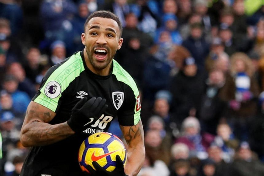 Bournemouth's Callum Wilson celebrates scoring their second goal during the English Premier League match between AFC Bournemouth and Brighton & Hove Albion on Jan 1, 2018.