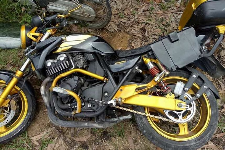 The damaged Singapore-registered motorcycle that was involved in the accident.