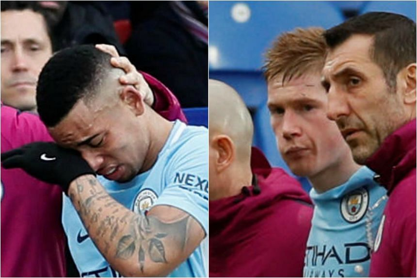 Manchester City players Gabriel Jesus (left) and Kevin de Bruyne suffered injuries during the English Premier League match between Manchester City and Crystal Palace, on Dec 31, 2017.