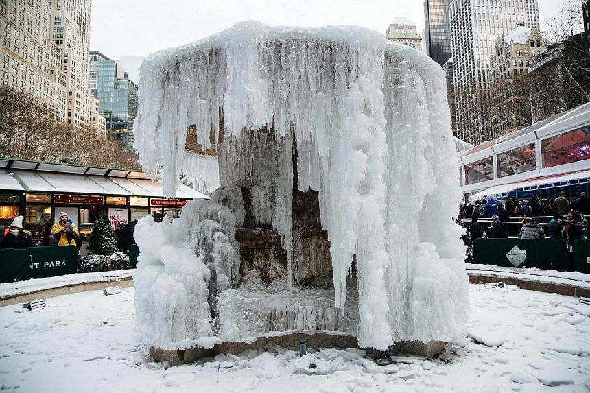 A frozen fountain in Bryant Park, New York, on Dec 30, 2017.