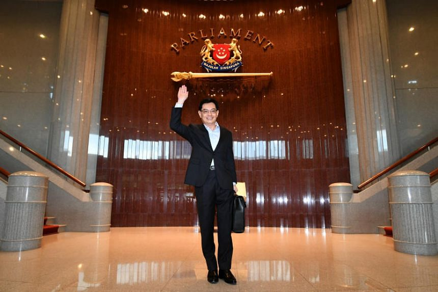 Minister for Finance Heng Swee Keat arriving at the Parliament House to deliver the Budget speech on Feb 20, 2017.