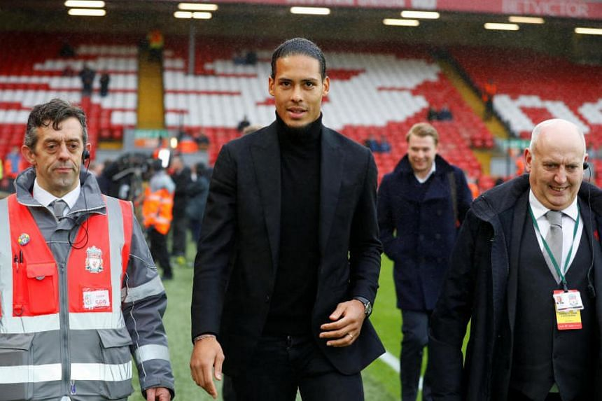 Liverpool's new defender Virgil van Dijk at Anfield before the English Premier League match between Liverpool and Leicester City on Dec 30, 2017.