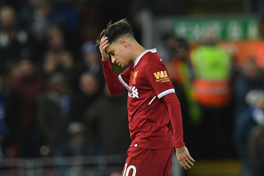 Liverpool's Brazilian midfielder Philippe Coutinho is substituted during their English Premier League football match against Leicester, on Dec 30, 2017.